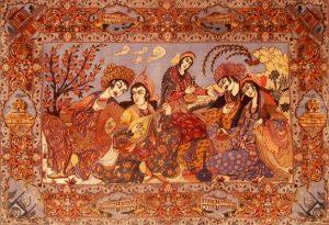 Isfahan,-Bildteppich,-extrafein,-auf-Seide-mit-Seide