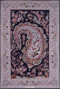 Isfahan,-extrafein,-Boteh-Muster,-Korkwolle-mit-Seide-auf-Seide