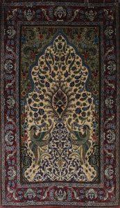 persischer Isfahan, Lebensbaum, Korkwolle auf Seide mit Seide