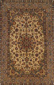 persischer Isfahan, Medaillon, Korkwolle auf Seide, mit Seide