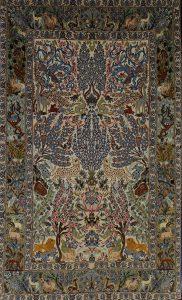 persischer Isfahan, Tiermotiv, Korkwolle auf Seide, mit Seide