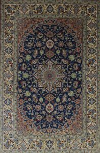 persischer Isfahan mit Medaillon, blau-beige, Korkwolle mit Seide, auf Seide, extra fein,